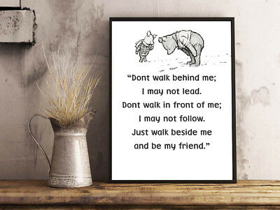 Inspirational Motivational Winnie The Pooh Dont Walk Quote A4 Poster Print
