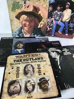 Lot Of 7 Classic Country Vinyl Records Good Condition from estate sale lot