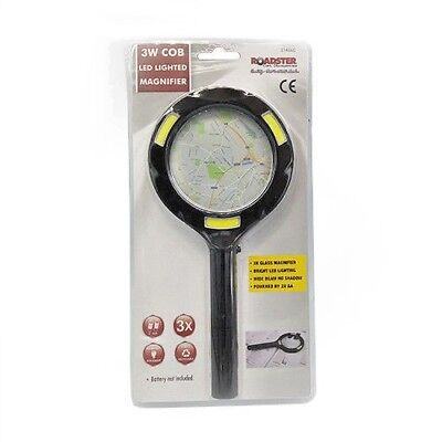 Roadster Magnifying Glass LED Light AA Battery Batteries Powered