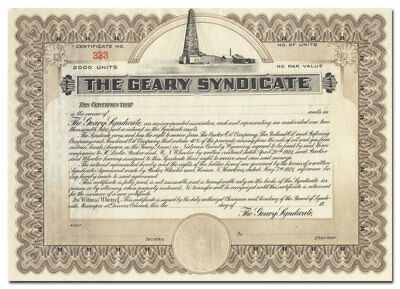The Geary Syndicate Stock Certificate (Denver, Colorado)