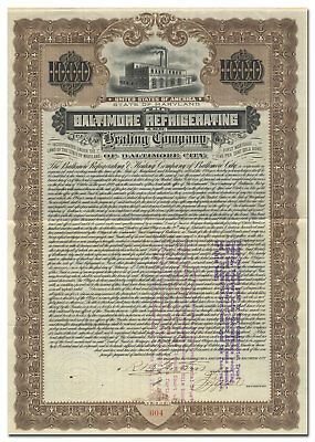 Baltimore Refrigerating and Heating Company of Baltimore City Stock Certificate