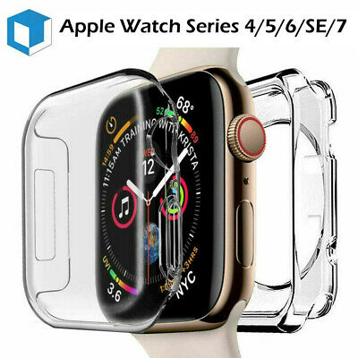 For Apple Watch Series 4/3 Full Cover Silicone TPU Case Shockproof Clear Bumper