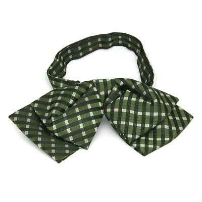 TieMart Dark Green George Plaid Floppy Bow Tie
