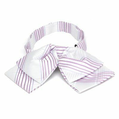 TieMart White Jeffrey Plaid Floppy Bow Tie