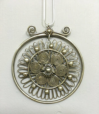 Chinese Etched Silver Floral Pendant Miao Hill Tribe Asian Silver Pendant