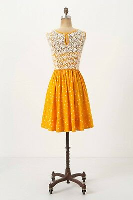 467fc51ad4eec Anthropologie Melora Dress by Moulinette Soeurs Yellow White Polka Dot Lace  sz 4