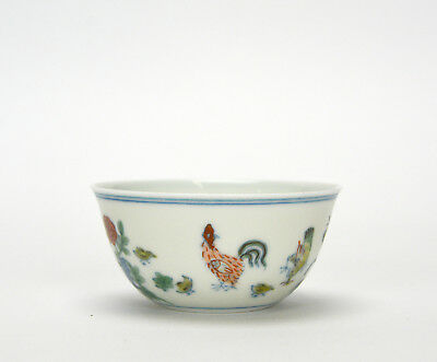 Superb Finely Painted Chinese Ming Style Doucai Chicken Wine Cup