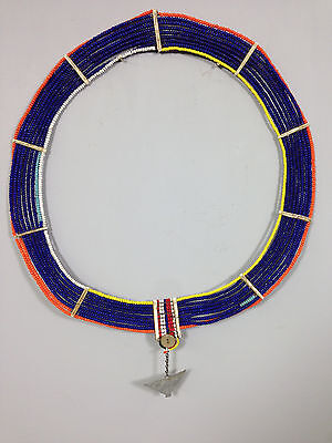 Kenya Masai African Beaded Blue Orange Womans Wedding Collar