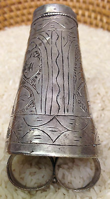 Middle Eastern Kuchi Silver Lapis Ceremonial Ring Size 7.5
