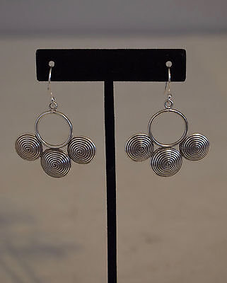 Earrings Silver Oval Etched Round Coiled Hoop Miao /Hmong Hill Tribe Dangle