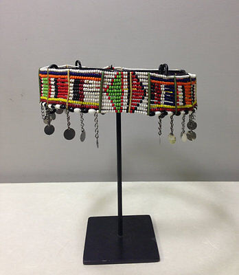 Masai African Beaded Women Red Blue Yellow Bead Silver Charm Belt