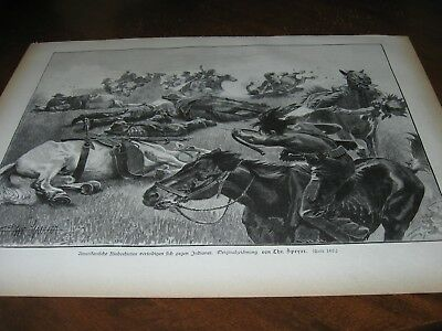 1893 Art Print ENGRAVING - CATTLEMEN COWBOYS Fight Off INDIAN ATTACK Old Western
