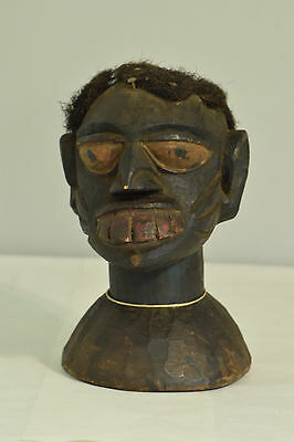 African Mask Yoruba Crest Carved Painted Helmet Hair Nigeria Male Crest Mask