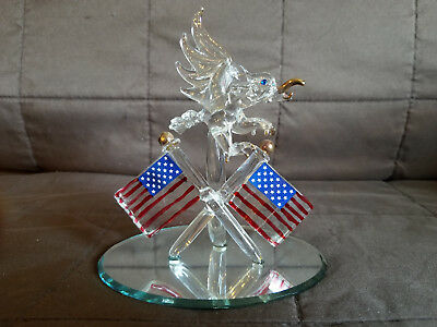 Bald Eagle & Crossed American Flags Hand Blown Glass Figurine in Mirror Stand