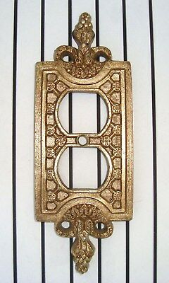 ***SOLD***   Hollywood Regency Mid Century Ornate Brass Double Switchplate Cover