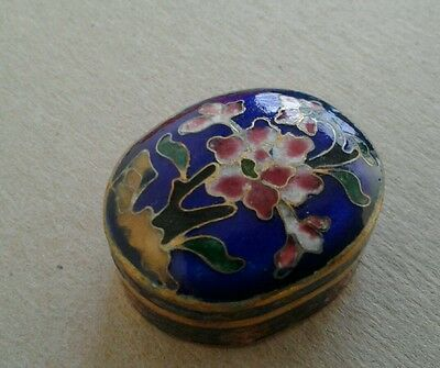 Vintage Chinese Floral pattern Oval Blue Cloisonne box