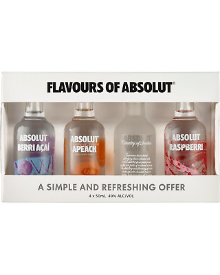 Absolut Vodka Mini Flavour Mix 50mL Spirits pack of 4