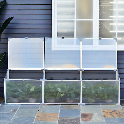 "71"" Aluminum Vented Cold Frame Greenhouse Plants Raised Bed Easy Access"