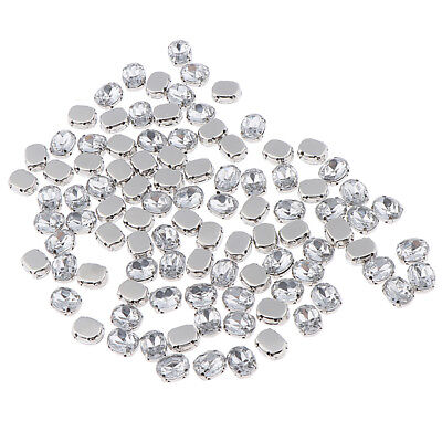 100x Diamante Sew On Crystals Rhinestone Faceted Beads Embellishment 8/10mm