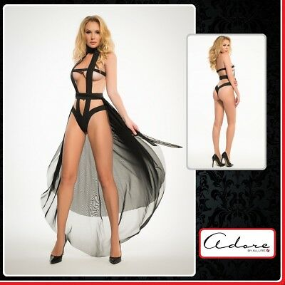 Sexy Lingerie Body Edgy Teddy And Sheer Skirt Adore Allure Intimo Donna fetish