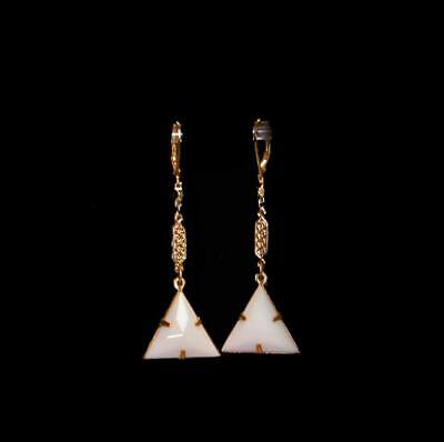 ~Dainty Vtg Art Deco White Faceted Pyramid Drop Earrings!~~