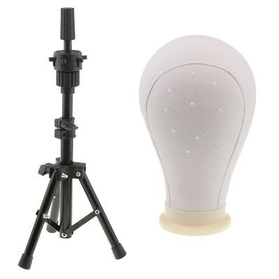 Useful 23'' Cork Canvas Block Wig Making Mannequin Head and Tripod Stand Kit