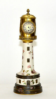 Rare 19th c. French Brass Lighthouse Industrial Clock with Porcelain and Enamel
