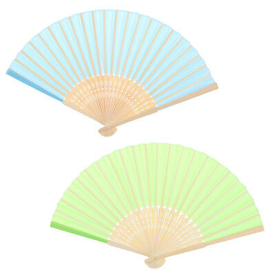 2x Chinese Folding Bamboo Original Wooden Carved Hand Fan fit Wedding Party