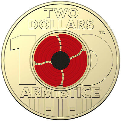 Australia 2018 Remembrance Day Armistice Red Poppy $2 Two Dollars AlBr Coin RAM