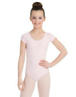 Capezio leotard #cc400c dance pink cotton short sleeve girls sizes new with tags