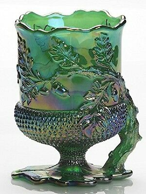 Spooner Spoonholder - Acorn - Hunter Green Carnival Glass - Mosser USA