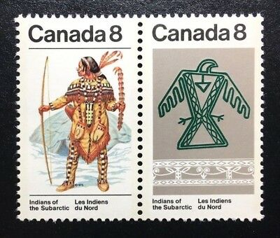 Canada #576-577a MNH, Subarctic Indians Pair of Stamps 1975