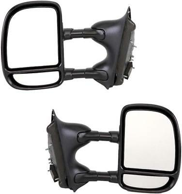 Pair Manual Towing Mirrors For Ford Super Duty Truck F250 F350 1999-2007