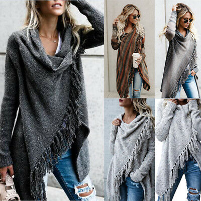 Womens Irregular Trench Coat Knitted Cardigan Winter Slim Fit Long Jacket Casual