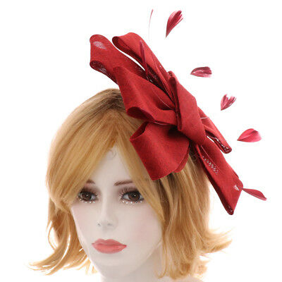 Womens Lady Fascinator Headband Veil Feather Hat Headwear Cocktail Party Costume