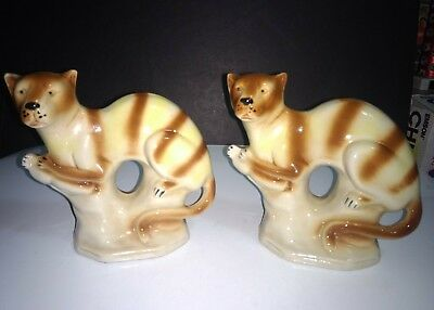 """Pair of Vintage Tiger Striped Cats Puma Cougar Figurines Made in Brazil 6"""" H"""