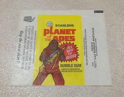 1975 Scanlens Planet Of The Apes Trading Cards - Wax Pack Wrapper