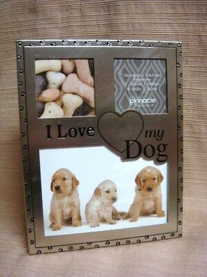 I LOVE MY DOG PICTURE FRAME - Silver Tone 3 Opening Collage & Easel-Back