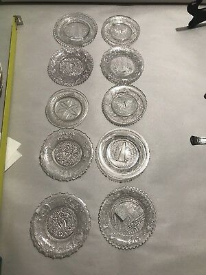 Rare SET OF 10 Sandwich ANTIQUE LACY PERIOD CUP PLATES Rare Mixed Lot