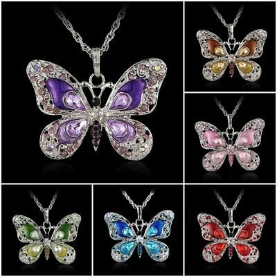 Duovin Women Crystal Rhinestone Butterfly Animal Pendant Necklace Chain Jewelry
