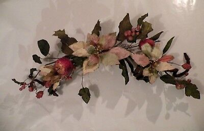 HOMCO Home Interiors Woodland Poinsettia & Candied Apple Holiday Swag # 52010