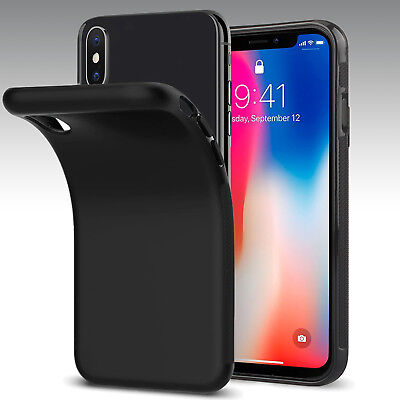 For iPhone 7 8/iPhone X XS XR Black Shockproof Case TPU Rubber Silicone Cover