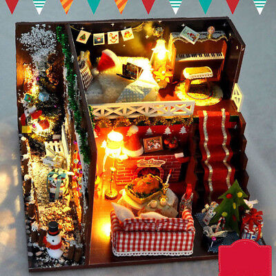 1xKids Christmas Doll House Gift Furniture Kit Kids DIY Miniature Dollhouse +LED