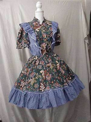 Pretty Print with Blue Ruffle 2 Piece Square Dance Dress Size Small Free Ship