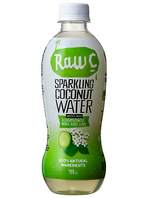 Raw C Sparkling Elderflower Mint Lime Coconut Water 400mL Other Drinks case of 1