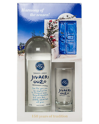 Jivaeri Ouzo Triple Distilled Ouzo Glass Gift Pack 700mL Spirits bottle