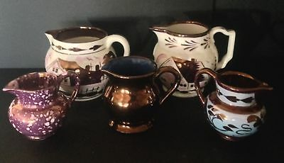 Lot of 5 Assorted Antique Copper Lustreware Small Pitchers - England & Wales