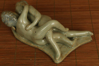 Valuable chinese Old Porcelain hand carving sexual culture statue figure ornamen
