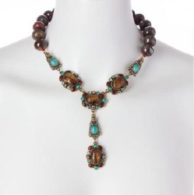 HEIDI DAUS Egyptian Queen of the Nile Carved Scarab-Design Beaded Necklace NEW