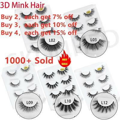 4 Pairs 3D Mink Hair False Eyelashes Thick Crisscross Eye Lashes Wispy Natural